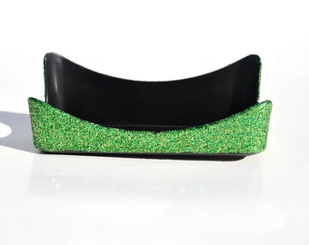 Lime Green Glitter Business Card Holder. Black and Lime Green Bling.  Electric Lime.  Sparkly.