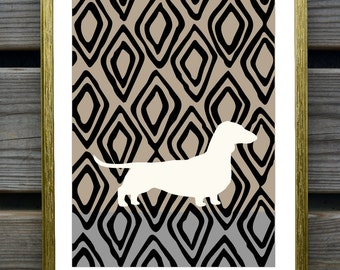 Dachshund Art Print with ikat Background, Modern Wall Decor, Dachshund Gift