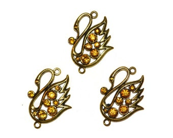 Swan Pendants Links Antique Gold Amber Rhinestone Embellished Jewelry Supplies Set of Three