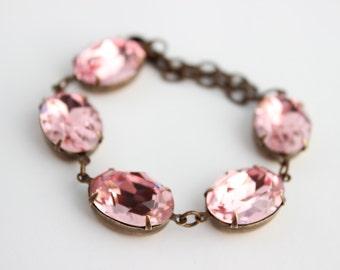 Swarovski light rose bracelet, Swarovski bracelet, pastel pink bracelet,  bridesmaid bracelet, Spring Wedding bracelet, rose bracelet  LRO01
