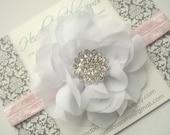 White Chiffon Flower with Rhinestone Pink Headband - Newborn Baby Girl Adult - Valentine's Day - Photo Prop