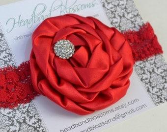 RED Satin Rolled Rosette Flower with Rhinestone Embellishment on Elastic Lace Headband - Photo Prop - Newborn Infant Toddler