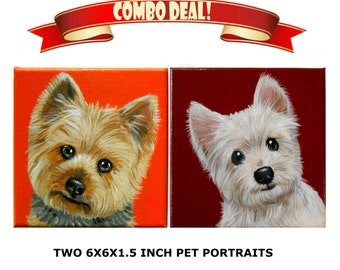 Custom Dog Portrait Set of 2 / Custom Pet Portrait - 1 to 2 Pets - Close-Up Solid background (6x6x1.5inch)