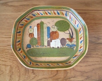 Vintage Mexican Tlaquepaque Pottery Serving Dish Hand Painted Mexican Folk Art Terra Cotta Redware