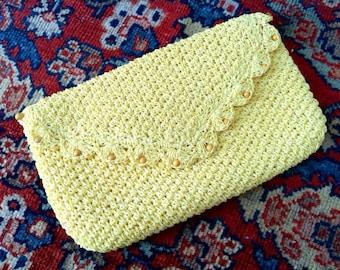 Crochet Handbag - Vintage Clutch - Beaded Purse