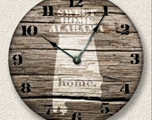 ALABAMA Home State Wall CLOCK  - Barn Boards pattern  - Sweet Home - rustic cabin country wall home decor