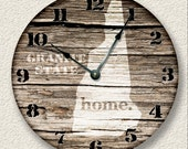 NEW HAMPSHIRE Home State Wall CLOCK  - Barn Boards pattern  -  Granite State - rustic cabin country wall home decor