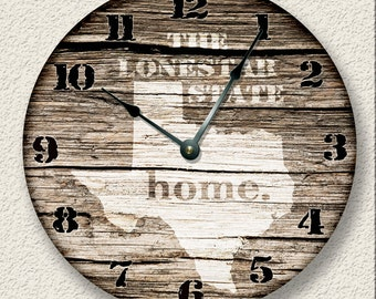 YOUR HOME State Wall CLOCK  - Barn Boards pattern  - unique open face design - rustic cabin country wall home decor