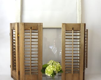 SHUTTeR SET WooDEN WEAtHERED ADORaBLE WINDoW PRIVaCY HOMe DEcOR COUNTRy FARMHOUSe RUsTIC