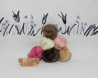 Wooly Buns roving, fiber sampler, assortment, needle felting supplies in Neapolitan, 1.5 oz, hand dyed ice cream colored roving collection