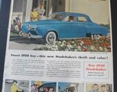 Vintage Studebaker Ad 1950 Original Car Advertisement  50s Ephemera Kitsch Family Automobile - Midcentury Illustration to Frame Collage
