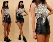 80s 90s Vtg Genuine Black LEATHER High Waist Micro Mini Skirt / Metal Double Zipper Sides Biker Skater Grunge Club Kid Goth Xxs Xs Deadstock