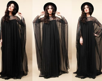 60s Vtg INCREDiBLE Black Floor Length CHIFFON Maxi Dress Draped Kaftan Sleeve Gown / Couture Mod GLiTTER Detail Glam / Sheer 2 Layer