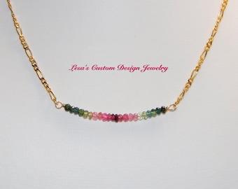 Watermelon Tourmaline Bead Bar Gold Filled Chain Necklace