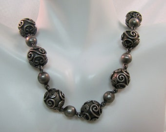 "C1950's Carmen Beckmann Sterling 15.5"" Bead Necklace, Mid-Century Taxco"