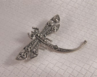 Victorian Sterling Dragonfly Brooch, Marcasite and Sterling Dragonfly Pin
