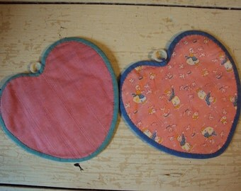 Vtg. Pot Holder Set Hearts