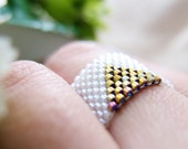 White Triangle Ring, Beaded White Ring, Gold Triangle Ring, Geometric Ring, Dreadlock Bead