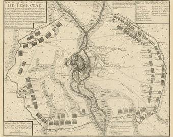 Timisoara map - Vintage map of Timisoara -  Fine print - Harta veche