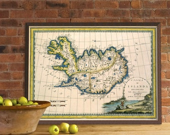 Vintage map of Iceland - Archival  map print - Giclee print