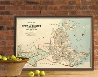 Old map of Quincy ( Massachusetts) 1907 - Archival fine  reproduction