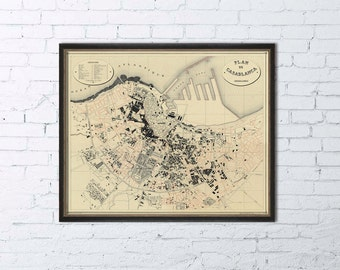 Map of Casablanca - Historic map -  Giclee archival map  poster