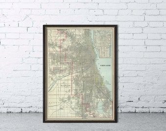 """Map of Chicago - Antique Chicago  city map print - 21 x 29 """"  - Large format"""