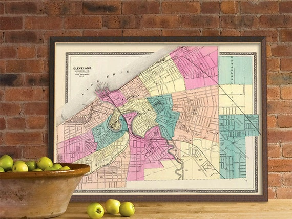Cleveland map - Old map of  Cleveland giclee reproduction  - Restored map giclee