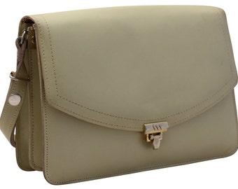 Vintage Cream Leather Handbag, Purse, Shoulder Bag