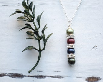 Personalized Birthstone Pearl Necklace - Silver Family Pendant Necklace