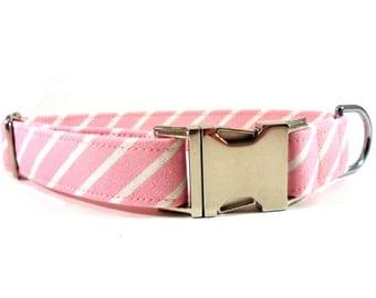 Dog Collar, PINSTRIPE in PINK, Handmade Dog Collar