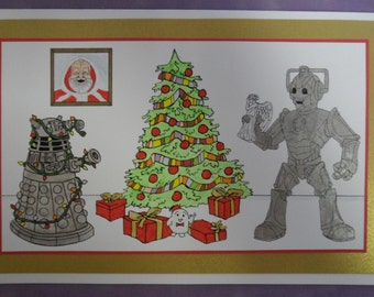 Dr Who Christmas Cyberman Dalek Card Set of 3