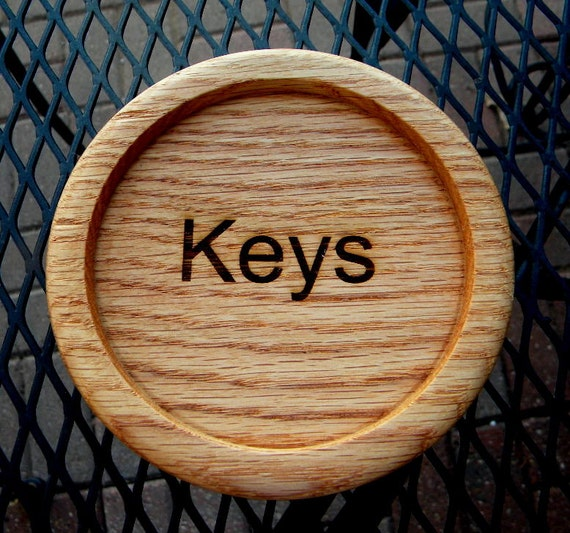 Oak keys dish or tray handturned and laser engraved organizer can be personalized