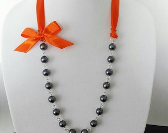 Charcoal Gray Pearl and Orange Ribbon Bow Necklace