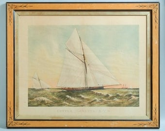 Antique ca1888 Yacht Cutter GENESTA R.Y.S Chromo Lithograph Print Currier & Ives