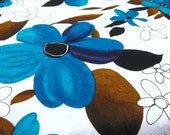 """Vintage Fabric - Big Blue Hawaiian Flowers -  By the Yard x 44""""W - Retro Sewing Material - Craft Supply"""
