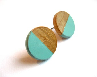 Wooden earrings with geometrical pattern in blue, scandinavian