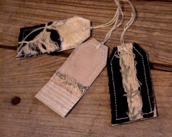 Antique Tattered Tags,Primitive Crazy Quilt Gift Wrap Tags.Prim Cutter Quilt Hand Embroidered All Occasion Fabric Card Labels itsyourcountry
