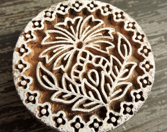 Flower Stamp: Indian Hand Carved Wood Printing Block, Clay Stamp, Handmade Round Circle Ceramics Pottery Textile Stamp, India Decor