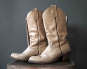 Ivory Cream Mens Western Frye Boots Cowboy Boots Size 9.5 D