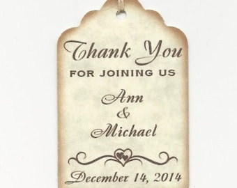 100 PERSONALIZED Thank you for JOINING US -Wedding or Favor tags-Shower or Gift tags-Hang Tags