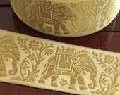 1 Yard Decorative Fabric Trim-Off White Wide Woven Ribbon Trim-Elephant Design Jacquard Ribbon-Designer Silk Sari Border By The Yard