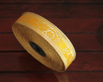 1 yard-Yellow & Golden Jacquard Trims-Woven Ribbon-Decorative Art Quilts fabric trim-Designer Silk Saree Border Trim-Brocade Fabric Trim