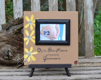 "Only the best parents get promoted to grandparents.""Picture frame 12""x12"". Customize your own frame by Ladybug Design by Eu"