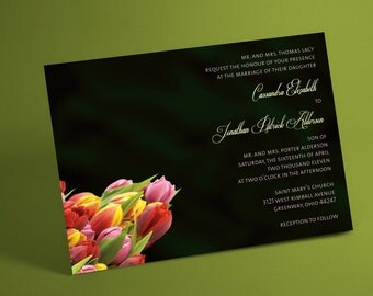 Spring Tulips tulip bouquet Wedding Invitation Suite, floral bouquet for spring wedding, summer wedding, post card rsvp available