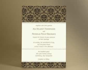 Vintage Wedding Invitations, Formal and Classic Damask, Vintage Inspired Design in Your Choice of Color