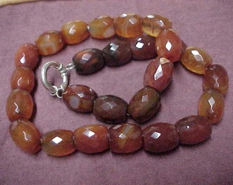 """Vintage Carnelian Beads Necklace 16.5"""", 15.7mm x 12.2mm, Faceted, Large Sterling Silver Spring Ring Clasp"""