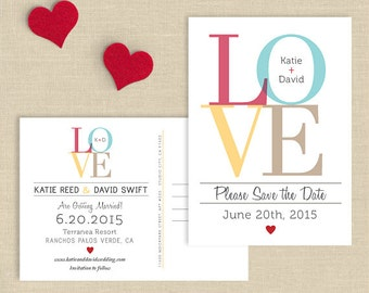 LOVE Wedding Save the Date Postcard, Double Sided Save the Date, Custom Colors, Printed Save the Date or DIY Printable