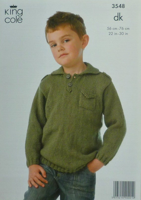 Boys Knitting Pattern K3548 Childrens Long Sleeve Jacket with Stand Collar Br...