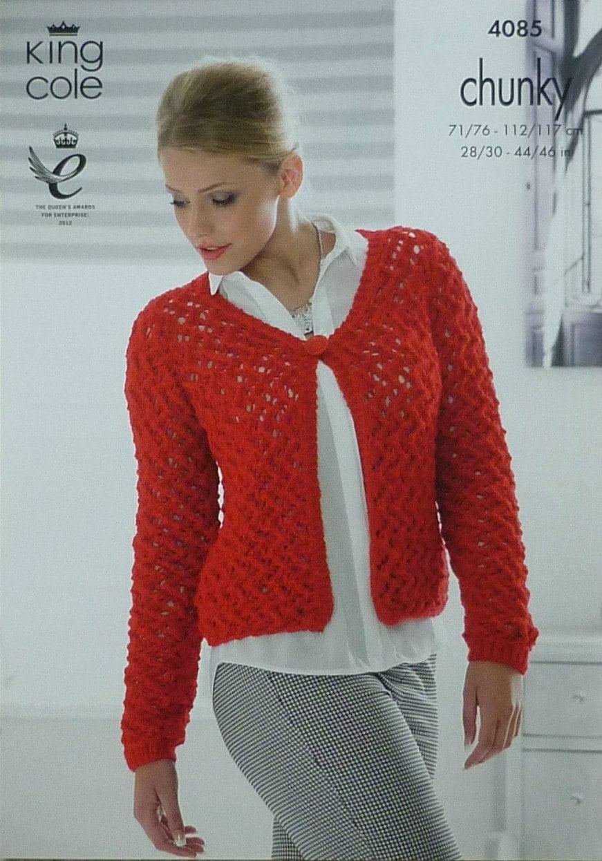 King Cole Ladies Cardigan Knitting Pattern : Womens Knitting Pattern K4085 Ladies Long Sleeve Lacy Cardigan Knitting Patte...